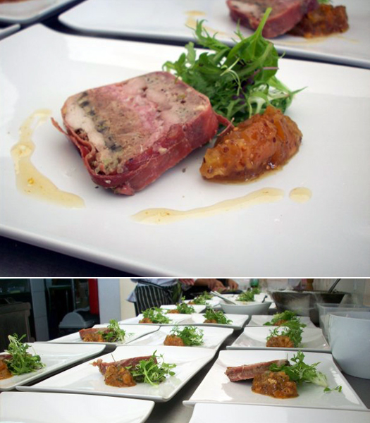 Ossobuco, sweetbreads terrine wrapped in prosciutto, by Stefano Leone