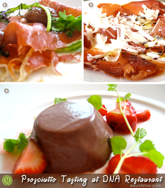 Prosciutto di Parma 24 month, Prosciutto di Parma 14 month and Pork blood and chocolate panna cotta with strawberries